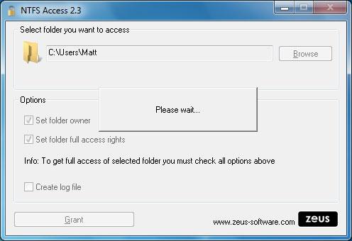 NTFS Access screenshot